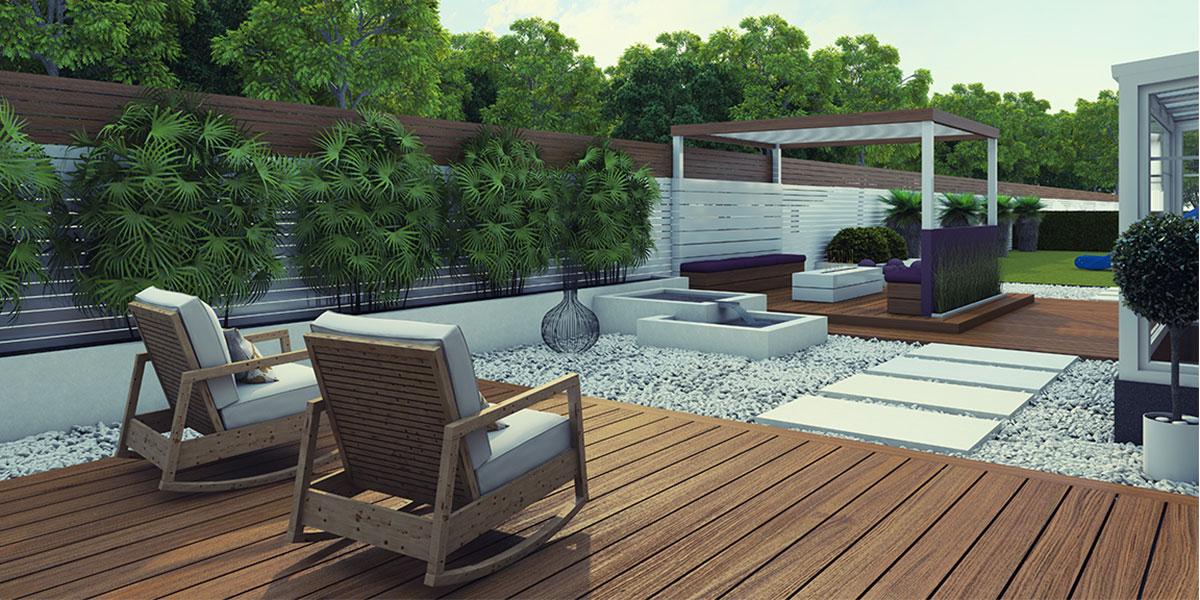 decoration terrasse cloture mineral bois mobilier pas japonais pergola bassin